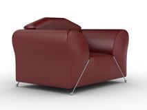 isolerad läderred för fåtölj interior Royaltyfri Bild