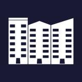 Isolerad lägenhetvektor lägenheter som bygger arbete för ställe för affärskontor Vit vektorsymbol på blå bakgrund royaltyfri illustrationer