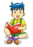 Isolerad läs- pojke. Royaltyfri Fotografi
