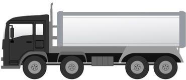 Isolerad lastbil med den svarta kabinen Royaltyfri Bild
