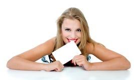 isolerad liestablet för flicka håll Fotografering för Bildbyråer