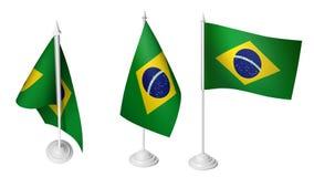 Isolerad liten Brasilien flagga för 3 som vinkar realistiskt Brasilien tyg för 3d Royaltyfri Foto
