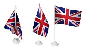 Isolerad liten Förenade kungariket flagga för 3 som vinkar realistiskt Förenade kungariket tyg för 3d Fotografering för Bildbyråer