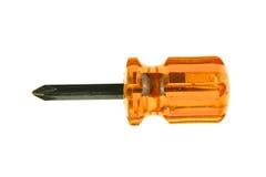 Isolerad liten orange genomskinlig och svart skruvmejsel Royaltyfri Fotografi