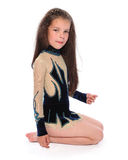 Isolerad litet barnflicka i body Arkivbilder