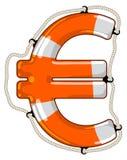 Isolerad livboj för euro tecken stock illustrationer