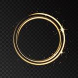 Isolerad ljus effekt för guld- neoncirkel på svarta genomskinliga lodisar stock illustrationer