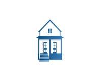 Isolerad logo för kontur för hus för abstrakt begreppblåttfärg Fastighetbyggnadslogotyp Symbol för köpegenskapsaffär Arkivfoto