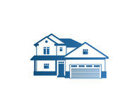 Isolerad logo för kontur för hus för abstrakt begreppblåttfärg Fastighetbyggnadslogotyp Symbol för köpegenskapsaffär Arkivbild