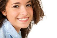 isolerad läppstiftwhite för bakgrund flicka Royaltyfria Foton