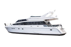 isolerad lyxig vit yacht för medelformat arkivfoton