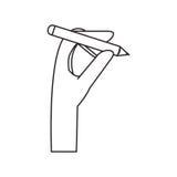 Isolerad mänsklig hand- och blyertspennadesign royaltyfri illustrationer