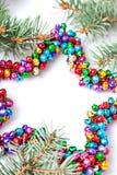 Isolerad mångfärgad julstjärnabakgrund med kopieringsutrymme Fotografering för Bildbyråer