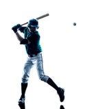 Isolerad manbasebollspelarekontur arkivfoto