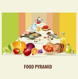 isolerad meat för brödostmat mjölkar frukt vita mutterpyramidgrönsaker stock illustrationer