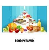 isolerad meat för brödostmat mjölkar frukt vita mutterpyramidgrönsaker royaltyfri illustrationer