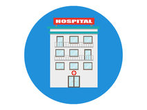 Isolerad medicinsk symbol för sjukhusbyggnadsvektor Fotografering för Bildbyråer
