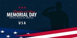 isolerad minnes- white för affischtavla dag Minns och hedra USA amerikanska flaggan vektor illustrationer