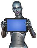 Isolerad minnestavla för dator för kvinnaAndroid robot Arkivfoto