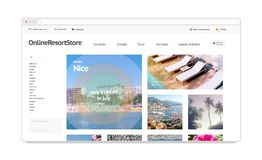 Isolerad modell för mall för webbplats för loppsemesterortwebstore, arkivbild