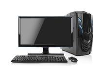 Isolerad modern dator för skrivbords- PC Fotografering för Bildbyråer