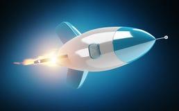 Isolerad modern digital tolkning för raket 3D Arkivbilder