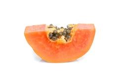 isolerad mogen white för papaya Arkivfoto