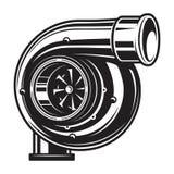 Isolerad monokrom illustration av bilturboladdareuppladdaren Royaltyfri Fotografi
