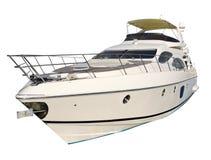 Isolerad motorisk yacht Arkivfoto