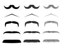 Isolerad moustacheillustrationsamling Arkivbilder