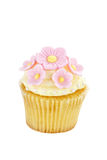 Isolerad muffin med blommor Royaltyfri Fotografi