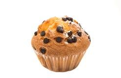 Isolerad muffin med chokladdroppar Arkivbild