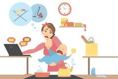 Isolerad multitaskingmoder stock illustrationer