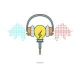 Isolerad musik för ljus kula för tecknad film lyssnande med hörlurar Arkivfoton