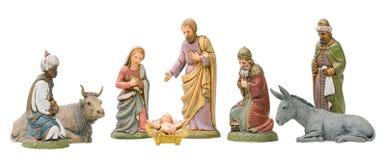 isolerad nativityset Arkivbilder