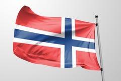 Isolerad Norge flagga som vinkar, framförd realistisk Norge flagga för 3D Arkivfoto