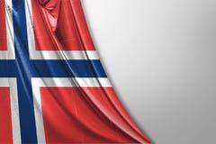 Isolerad Norge flagga som vinkar, framförd realistisk Norge flagga för 3D Arkivbild