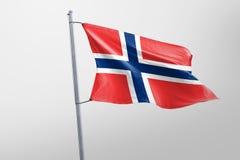 Isolerad Norge flagga som vinkar, framförd realistisk Norge flagga för 3D Arkivbilder