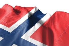 Isolerad Norge flagga som vinkar, framförd realistisk Norge flagga för 3D Royaltyfria Bilder