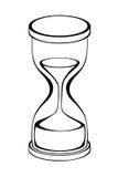 Isolerad objektillustration för timglas svart vit Arkivbilder