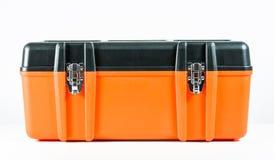 Isolerad orange toolbox Arkivbild