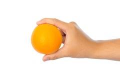 isolerad orange white för hand holding arkivfoton