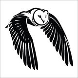 Isolerad owl i flyg vektor illustrationer