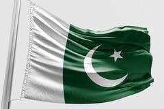 Isolerad pakistansk flagga som vinkar realistiskt tyg 3d Fotografering för Bildbyråer