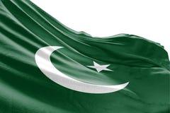 Isolerad pakistansk flagga som vinkar realistiskt tyg 3d Arkivbilder