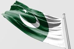 Isolerad pakistansk flagga som vinkar realistiskt tyg 3d Royaltyfria Bilder