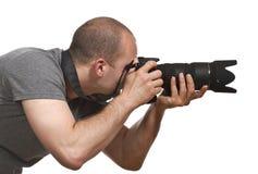 isolerad paparazzifotograf Arkivbild