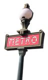 isolerad parisian teckenwhite för metro arkivbild