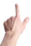 isolerad pekarepress för finger hand Fotografering för Bildbyråer