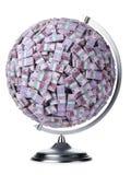 isolerad pengarwhite för euro jordklot Arkivbilder